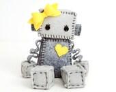 Plush Robot Girl With Bow and Heart - Pick Your Color - Robot Plush Doll - Girl Robot Nursery Decor and Gift