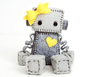 Plush Robot Girl With Bow and Heart - Pick Your Color - Robot Plush Doll - Girl Robot Nursery Decor and Gift