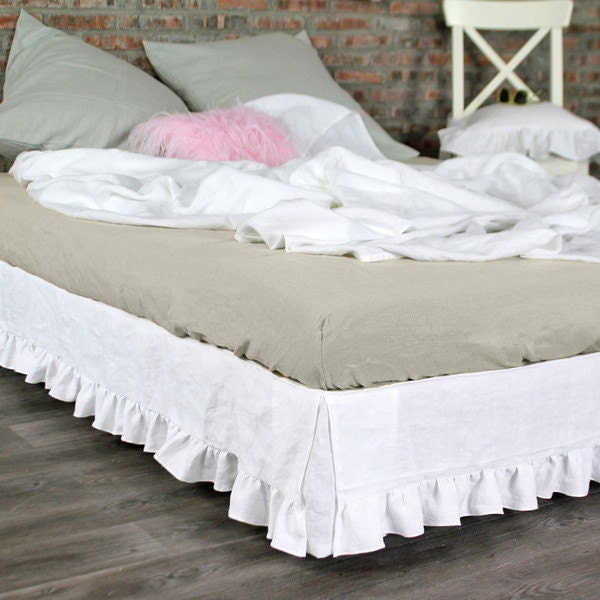 queen size ruffled linen white bed skirt by thenewhome1 on etsy. Black Bedroom Furniture Sets. Home Design Ideas