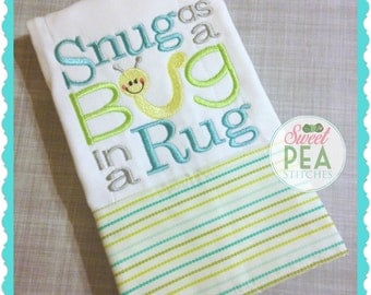 Snug as a Bug in a Rug Shirt, bodysuit, Bib, Burp Cloth -  Embroidered baby Shirt - Girls Shirt - Boys Shirt - Snug as a bug applique