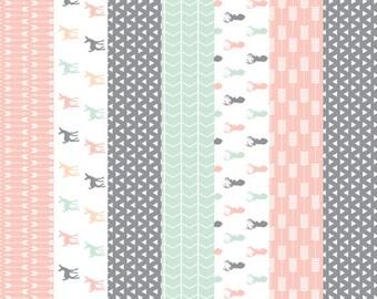 Deer Baby Bedding, Fawn Quilt Blanket, Deer Nursery Bedding, Crib Cotton Baby Blanket, Fawn Baby Bedding, Little Fawn Nursery Bedding