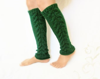 Long leg warmers for Women, greenery leg warmers, leg warmers Women, Ankleknits, knit leg warmers, cable knit leg warmers green