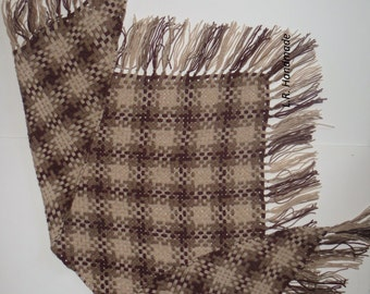 Handwoven Triangle scarf, Warm and soft Scarf weaved on a frame, fringed scarf, Shawl, Unique Scarves, Winter Accessories,  gifts, brown