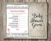 Baby Shower Game - Baby Shower Price is Right - Guess Baby Item Prices - Girl Pink and Gray Baby Shower Game - Printable - INSTANT Download