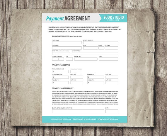 Payment Plan Template Photography Financial Contract Invoice