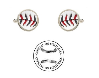 Authentic Leather Baseball Cufflinks - Cincinnati Reds - Made with an Official On Field Game Baseball