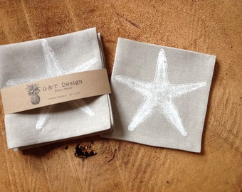 White Starfish Screen Printed Dinner Napkins onto 100% Natural Linen, Set of 4 , Wedding Gift, Cottage Napkins