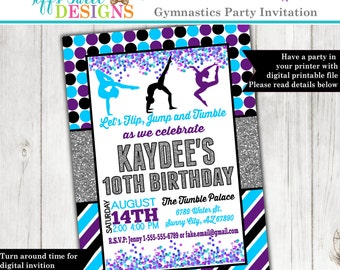 Purple and Turquoise Gymnastics Invitation - Gymnast Birthday Party - Acrobat Invite - Printable