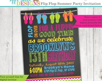 Flip Flop Invitation - Summer Birthday Party - Pool - Beach - Printable