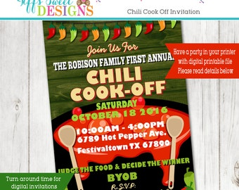 Chili Cook Off Invitation - Hot Pepper Invitation - Annual Chili Cook Off