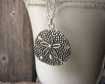 Long Silver Sand Dollar Necklace Layering Necklace Beachy Necklace