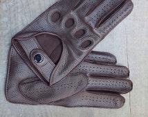 Deer-skin,leather gloves for men-driving gloves,leather gloves.drive-gift-mens gloves-christmas gift-italian leather.handmade, soft-deer-ski