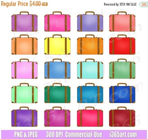 50% OFF SALE Suitcases Clipart Travel Luggage Clip Art by ...