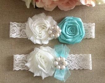 Wedding Garter - Bridal Garter - Aqua Blue and Ivory Flower Garter and Toss Garter Set