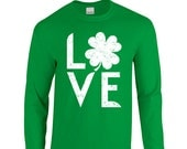 "New Shamrock ""Love"" Unisex Long Sleeved T-Shirt for St. Patrick's Day, Bar Crawl, Party, Girlfriend, Wife, Sister, Friend, Present"