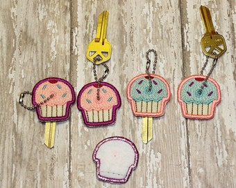 Cupcake key cover, key chain, embroidered, keychain, key fob, keyfob, embroidery, gift, stocking stuffer, party favor, grab bag, birthday