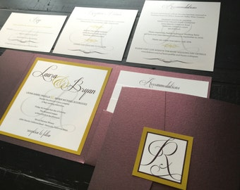 Pocket Wedding Invitation; Eggplant and Gold