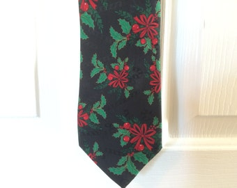 Vintage Christmas Necktie - black with green and red holly - Hallmark Specialties Brand - 100% polyester - excellent condition