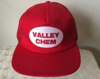 "Vintage Baseball Cap - ""Valley Chem"" - red with white patch - excellent condition"