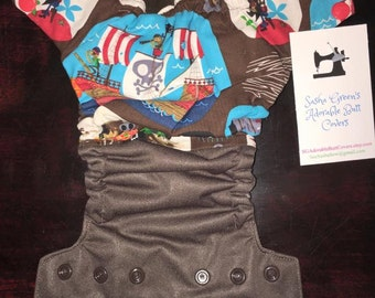 Two Tone Pirate Cloth Diaper Cover