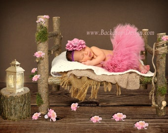 READY TO SHIP!!! Photo Prop Newborn vintage Log Bed photography prop hand made wooden bed