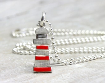 Lighthouse with 925 silver chain,  maritime silver jewelry, holiday ocean jewelry