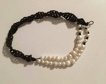 Gorgeous freshwater pearl and macrame leather necklace combo