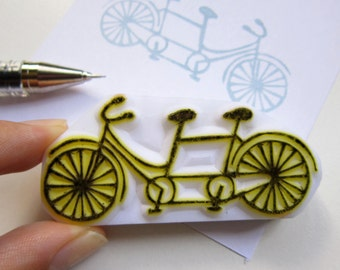 Couple Tandem Bicycle rubber stamp