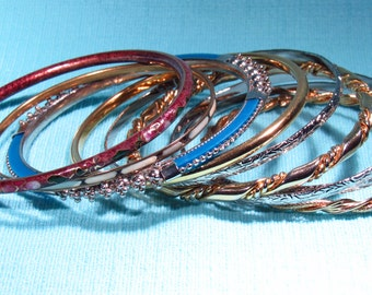 9 Beautiful Bangle Bracelets, 3 Of Which Have Lovely Enamel Cloisonne Finishes - 6 Inch Wrist - FREE SHIPPING.