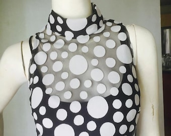 Black and White Polka Dot Midi Turtle Neck Dress