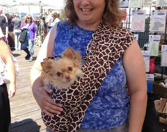 Pet Sling, Giraffe Brown and Cream Print, Pet Carrier, Pet Pouch, Handcrafted, Dog Carrier, Puppy Sling, Dog Sling