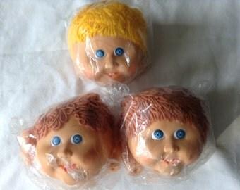 Three Cabbage Patch Doll Head with Hands and Yarn Hair- Yarn doll heads - Orange Yarn hair - plastic doll - toy crafts