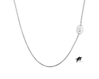 Tiny oval sideways Intial necklace, personalize oval necklace any letter pendant for bridesmaids mothers day .925