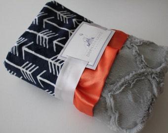 Navy and White Arrow Minky with Plush Silver Gray Lattice and Orange Satin Trim - Baby, Crib Bedding, Nursery, Aztec, Tee Pee
