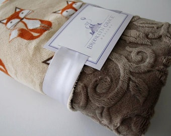 Fox Tails Beige with Cocoa Embossed Vine Minky Blanket - Baby Blanket, boy, Baby Shower, Nursery, Crib Bedding
