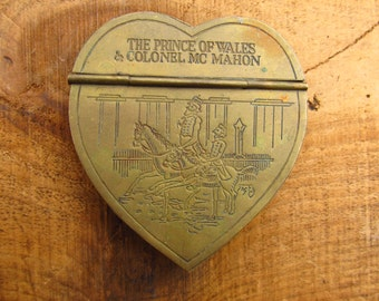 Vintage Brass Heart Shaped Snuff Box - Metropolitan Museum of Art Reprodction - Mottahedeh Brass Snuff Box
