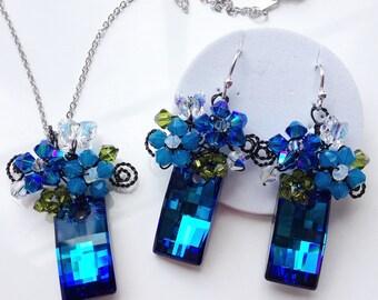 Blue jewellery set, Swarovski jewellery set, Something Blue, Wedding Jewelry, Delicate Jewelry, Blue Jewelry uk