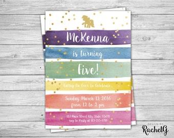 Rainbow Dash Birthday Invitation - Rainbow Watercolor Glitter - Digital PDF or JPG