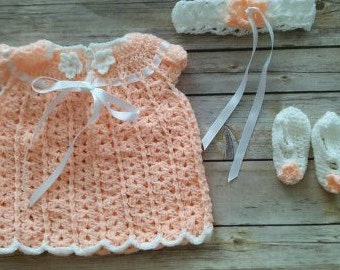Infant girl dress, headband and mary janes shoes