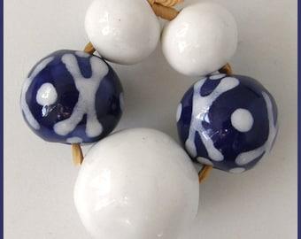 Okawa Ceramic Bead set in Navy Blue and White