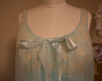 1960s Sears Light Blue Babydoll Lingerie