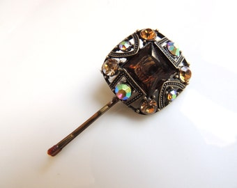 Sparkling Square Vintage Style Pin with Browns Stones, Bobby Pins, Bronze Clip, Hair Accessories, Cabochon,Filigree Hair Clips