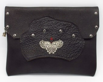 Victorian Steampunk Gothic Hand Bag Accessory Black Zipped Riveted Leather Clutch -- The Dark Governess