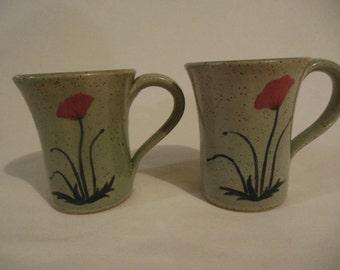 Floral Coffee Mug in Cyan Blue
