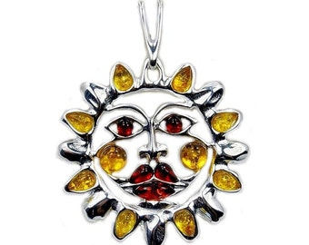 Ancient Sun Natural Baltic Amber Jewelry & .925 Sterling Silver Reversible Pendant , AC304
