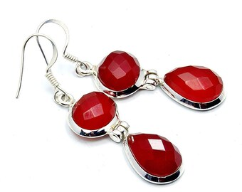 Flame of Love' Carnelian & Sterling Silver Earrings ; W244