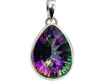 Mystic Topaz Valentines Day Gift Pendant & 925 Sterling Silver Pendant Necklace AA914 Jewelry The Silver Plaza