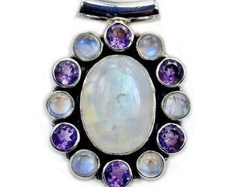 Exquisite Moonstone, Amethyst & .925 Sterling Silver Pendant , AB317