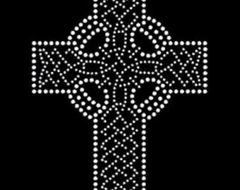 Celtic Cross Rhinestones T-shirt St. Paddy's Day St. Patrick's Day Irish