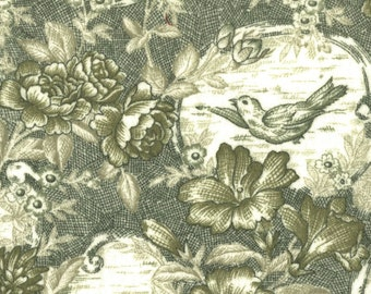 """In the Beginning Fabrics - Fern Spruce Floral Bouquet with Birds Flannel Toile - Pattern 5FBF - 45"""" x 60"""""""